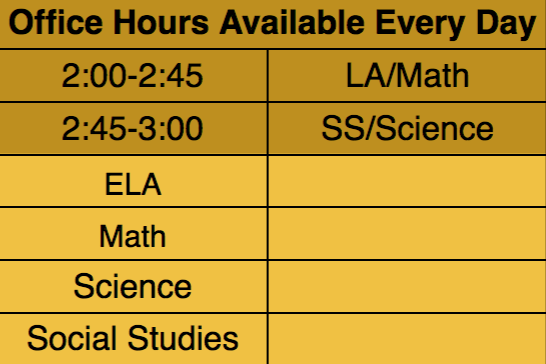Virtual Office Hours Schedule