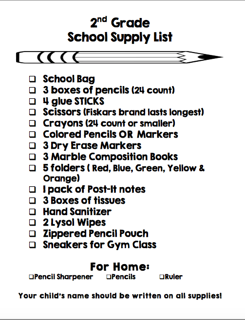 Image result for supply list 2nd grade
