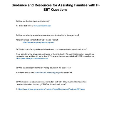Guidance and Resources for Assisting Families with P_EBT update July 20